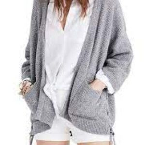 Madewell gray Side-Lace Cardigan Sweater small